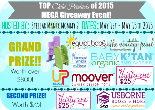 Mega Top Child Products Giveaway ends 5/15
