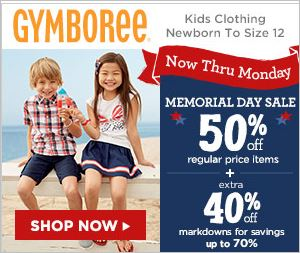 Save up to 70% at Gymboree coupon code not needed!