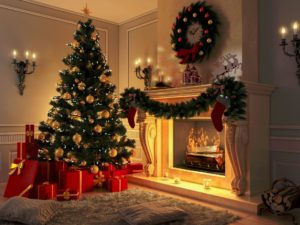 Christmas Decorations: Stockings, Candles, and a Tree Inside the House