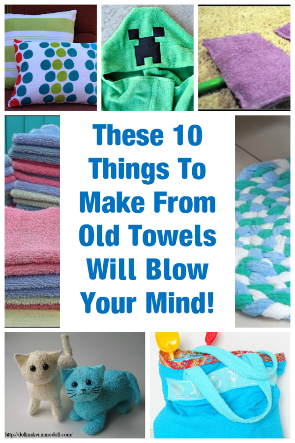 I've put together a list of 10 fabulous things you can make from old towels. My list includes ways to upcycle towels in all conditions, too!