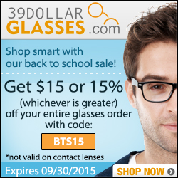 Save $15 or 15% on Eyeglasses